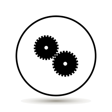 gearwheel: Two gear Icon, flat design style on white background