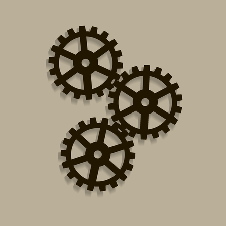Two gear Icon, flat design style. Illustration