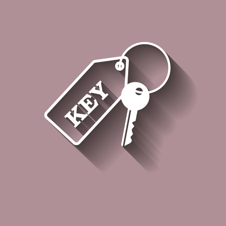 Vector icon keychain with a key with shadow