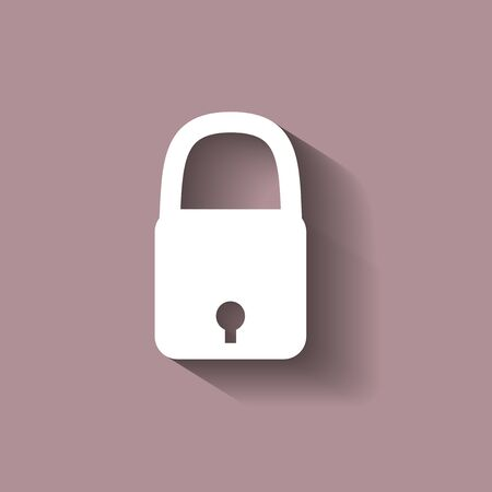 secret code: Vector icon of a closed padlock with shadow Illustration