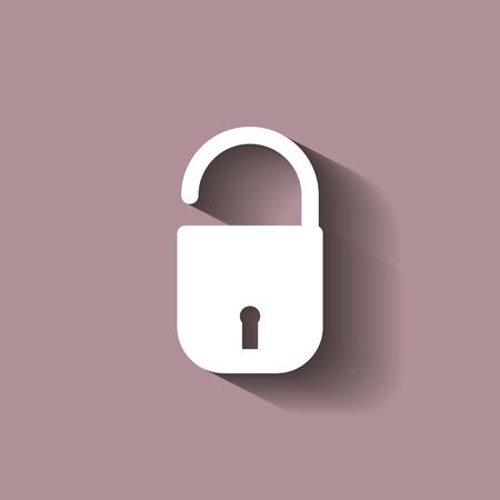 secret code: Vector icon open padlock with shadow. Open lock icon