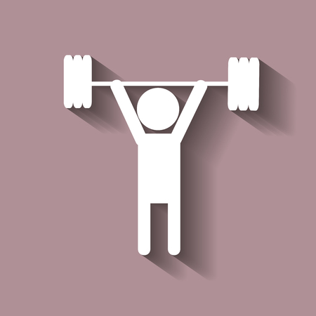Weightlifter. Vector person . With shadow