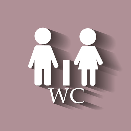 WC  Toilet door plate icon. Men and women.Vector  with shadow