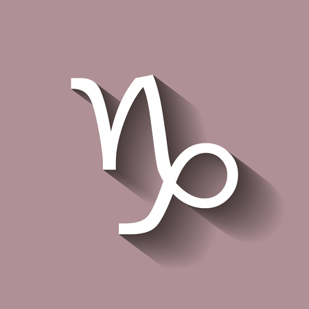 Capricorn zodiac sign. Astrological symbol icon with shadow Illustration