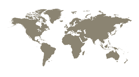Blank brown world map on isolated white background. World map vector template for website, infographics. Flat Earth illustration. Ilustrace