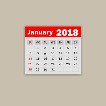 weekly: January 2018. Calendar vector illustration Illustration