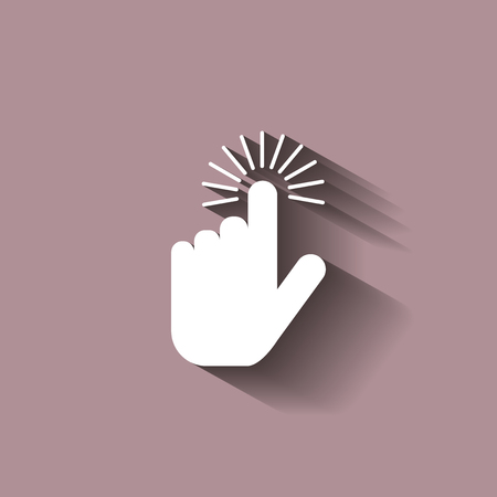 hand touch: The hand clicks on the button. Cursor Icon with shadow design Illustration