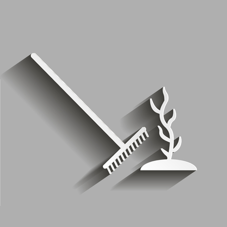 bag of soil: Rake plant. Growing a plant from a seed. Illustration with shadow design