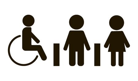 children silhouettes: Vector image of disabled person, Male, female toilet Illustration