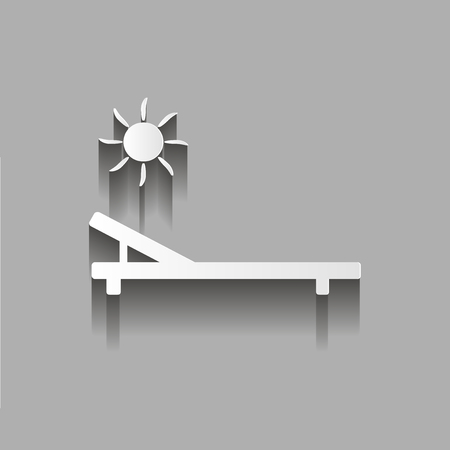 patio deck: Icon of the chaise lounge. Badge of sun loungers. Lounger free of charge.Vector illustration with shadow design Illustration