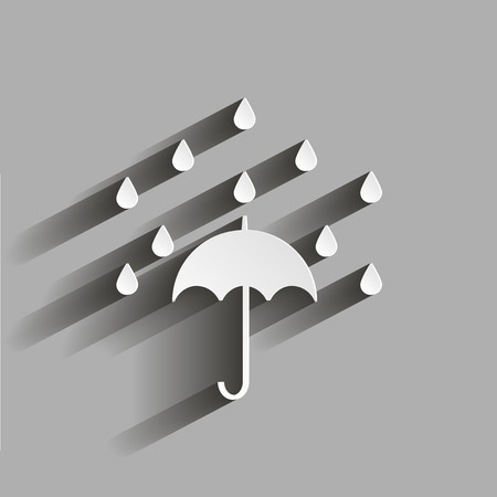 Umbrella and rain. Illustration with shadow design Ilustrace