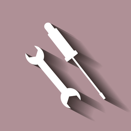 Screwdriver and Wrench icon. Vector icon with shadow