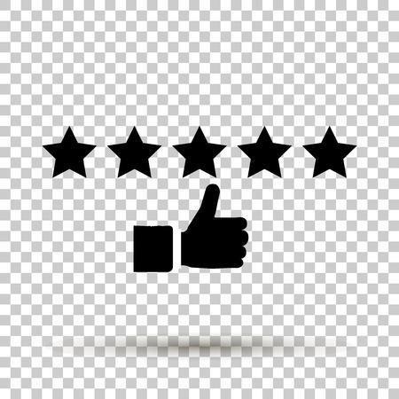 Image vectorielle d'étoiles rayonnantes et révélatrices. 5 étoiles classement de l'icône de l'icône. Banque d'images - 82885078