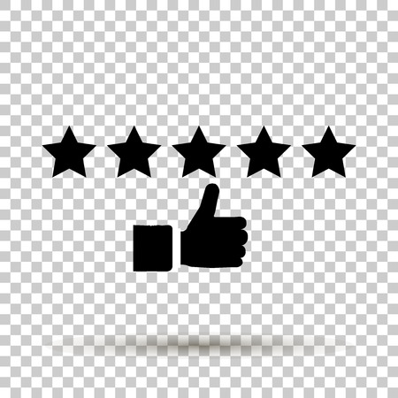 Vector image of stars high raiting and showing hands up. 5 stars rating icon illustration.