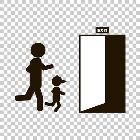 Vectorbeeld van mensen die aan de deur lopen waarvan de uitgang wordt vermeld.