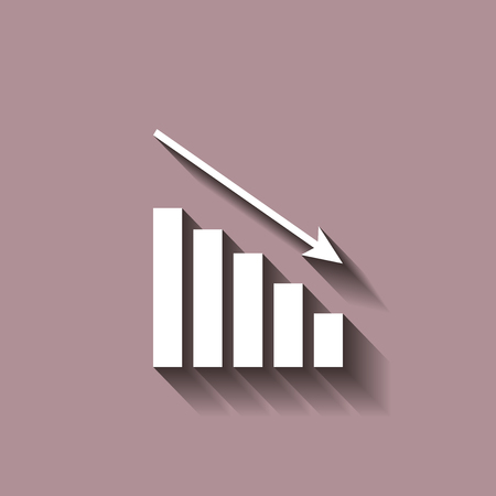 Down schedule, the decline. Infographic, chart icon,  Flat vector illustration. Vector icon with shadow