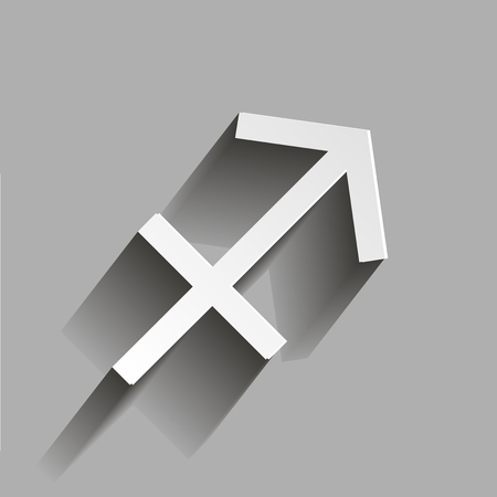 Sagittarius Zodiac Sign Astrological Symbol Icon With Shadow Stock