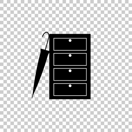 Vector image of a closed wardrobe for clothes and an umbrella