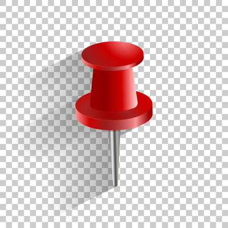 Vector icon red push pin. Иллюстрация