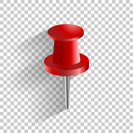 Vector icono rojo push pin. Ilustración de vector