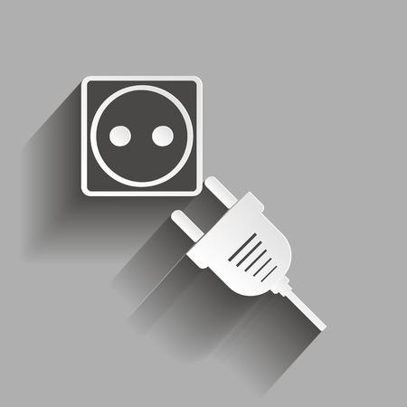 ベクトル アイコン ソケットとプラグ。影デザイン ベクトル イラスト。