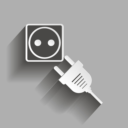 Vector icon sockets and plugs. Vector illustration with shadow design. Иллюстрация