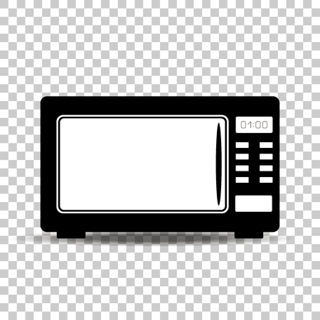 Black microwave oven on white background.