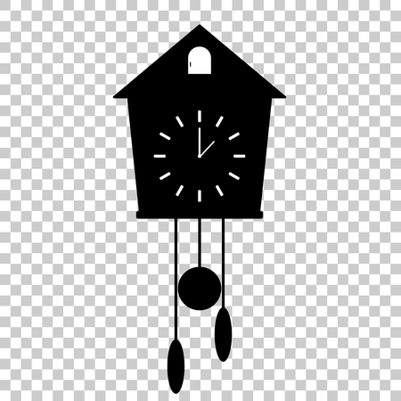 Vector icon of  black clock  with cuckoo on white background. Home Appliances Ilustração