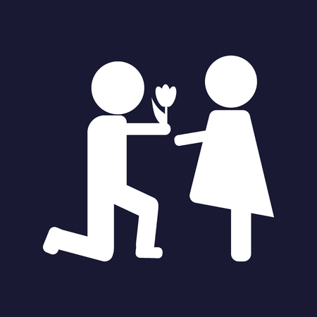 The man gives the woman flowers.  Vector icon.