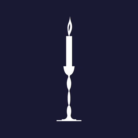Candle icon. Vector icon on dark blue background. Ilustracja
