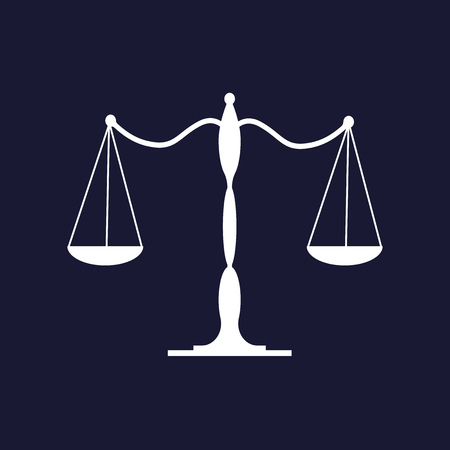 Balance scale icon. Vector icon on dark blue background. Иллюстрация