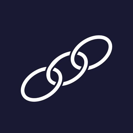 security symbol: Chain, chain links.  Vector icon on dark blue background