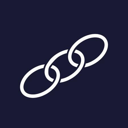 Chain, chain links.  Vector icon on dark blue background