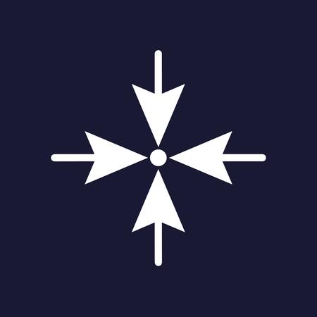 Pijlen wijzen de richting naar vier zijden op één punt.