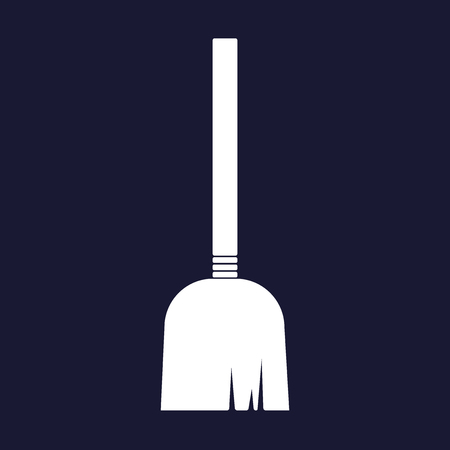 Vector image of a broom or a mop. White vector icon on dark blue background.