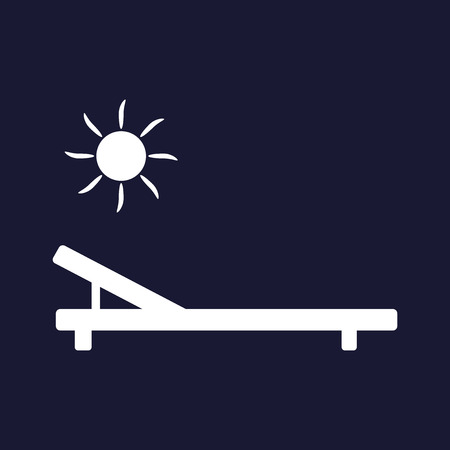 Icon of the chaise lounge. Badge of sun loungers. Lounger free of charge. White vector icon on dark blue background. Illustration