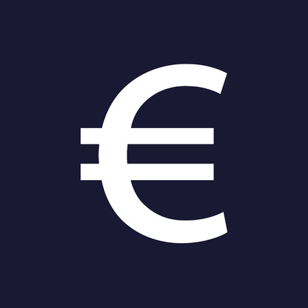 Vector image of the euro sign.  White vector icon on dark blue background.