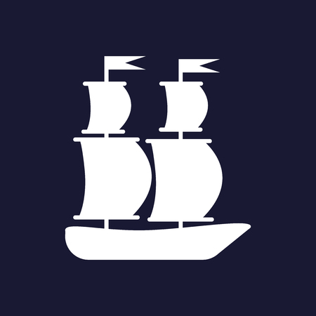 Ship, boat. Sail ship. White vector icon on dark blue background.