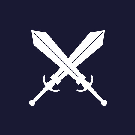 Vector image of two swords. Vector white icon on dark blue background.