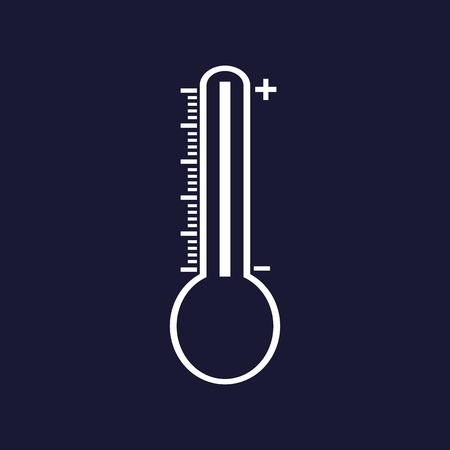 Thermometer vector image. Vector white icon on dark blue background.