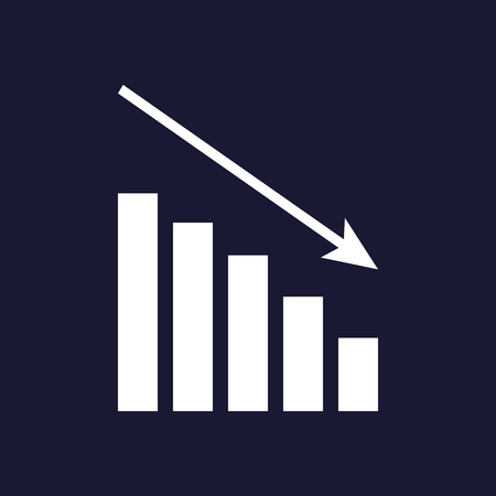 Down schedule, the decline. Infographic, chart icon,  Flat vector illustration. Business concept chart pictogram. Vector white icon on dark blue background.