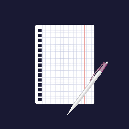 spiral notebook: A vector icon of an empty sheet of paper in a cage and a pen.  3d realistic image for business, education, study on dark blue background. Illustration