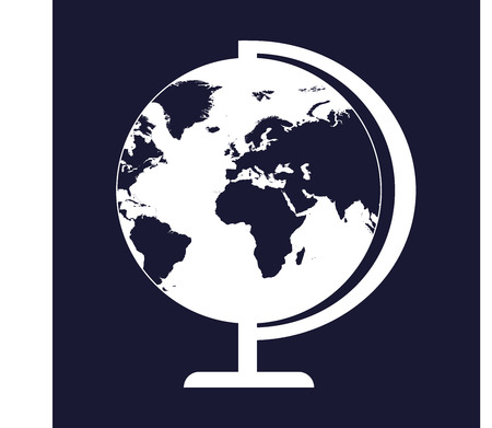 Vector image of the globe. Vector white icon on dark blue background.