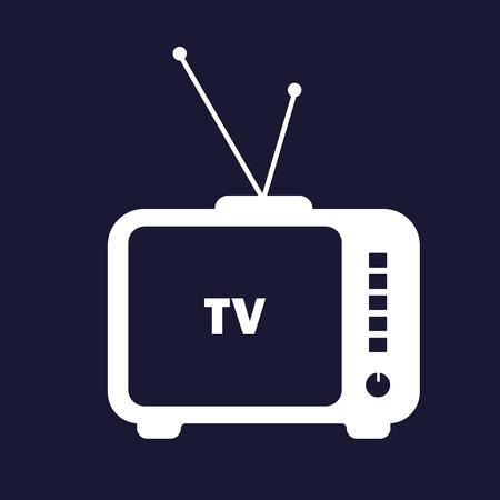 Tv Icon. Retro Television. Vector white icon on dark blue background.