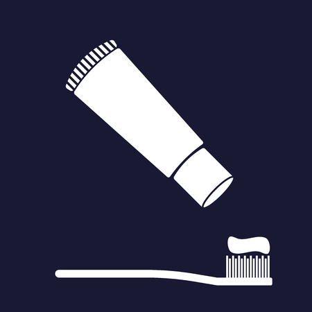 Vector image of toothbrush and toothpaste. Vector white icon on dark blue background. Иллюстрация