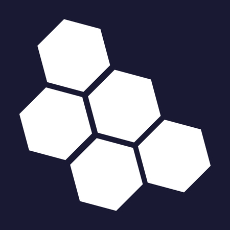 Vector image of honeycomb. Vector white icon on dark blue background.