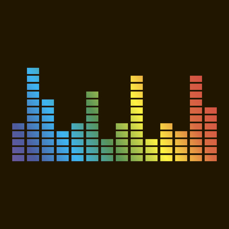 Vector icon of musical equalizer. A musical sound wave.Vector icon on black background.