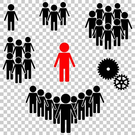 People vector  icon set. Crowd signs.