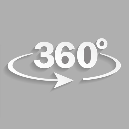 Vector image turn sign 360 degrees.Vector icon whith shadow design Çizim