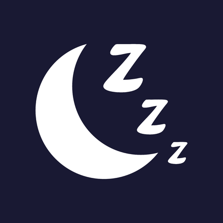 Vector image night, moon and sleep. Vector white icon on dark blue background.